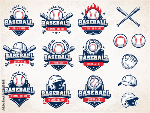 Photo White, red and blue Vector Baseball logos