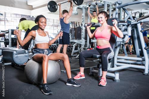 Fotografie, Obraz  Frauen und Männer haben Spaß beim Sport und Fitness im Fitnessstudio