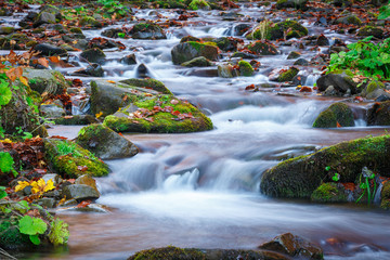 Fototapeta na wymiar blue water of mountain stream in autumn time