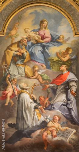 BRESCIA, ITALY - MAY 21, 2016: The painting of Madonna among the saints on main Fototapeta