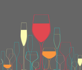 Fototapeta Wino Glasses set vector