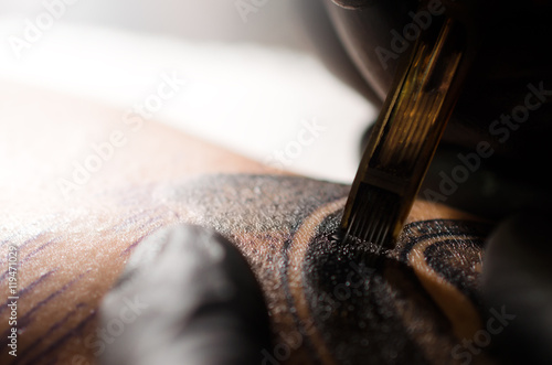 Tattoo Needles On Human Skin Close Up Buy This Stock Photo And