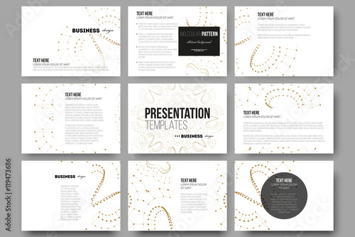 set of 9 templates for presentation slides. abstract polygonal low, Low Poly Business Presentation Template, Presentation templates