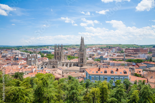 high view panorama cityscape of Burgos city, with famous gothic catholic cathedral St Mary or Santa Maria, monument from XIII Century, in Castile and Lion, Spain Europe
