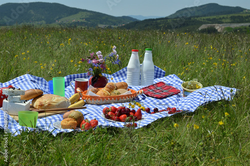 Foto op Aluminium Picknick Picnic with fresh fruit, croissants, cheese and plastic bottles of milk and yogurt on meadow with hills in background