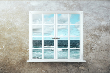 Fototapeta White window with sea view
