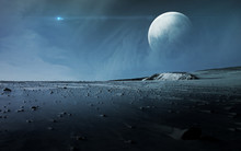 View Of Pluto From Charon. Elements Of This Image Furnished By NASA