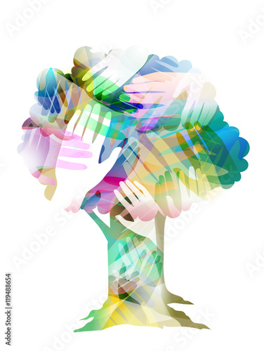 Fototapeta  Tree Hands Design