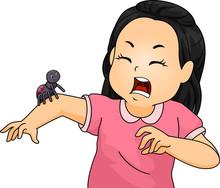 Kid Girl Spider Afraid