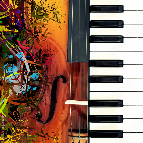 Canvas Print piano & classical violin, funny colorful splashing art for music background