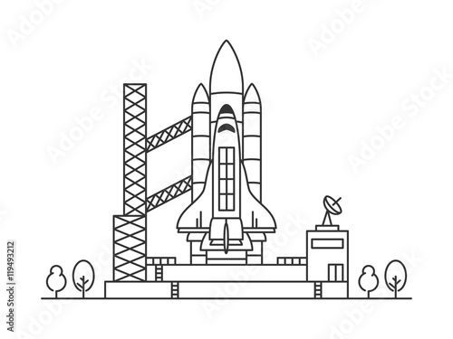 space shuttle vector illustration  spaceship on space