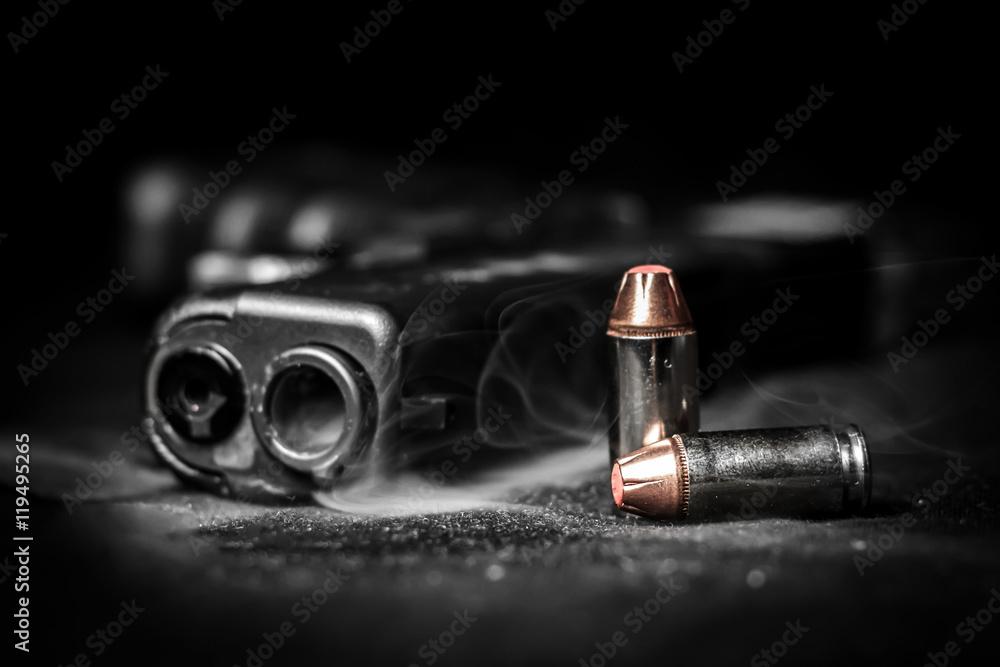 Fototapeta Bullets and pistol Glock .40