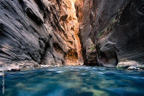 Poster Cappuccino view of the Virgin River Narrows in Zion National Park - Utah