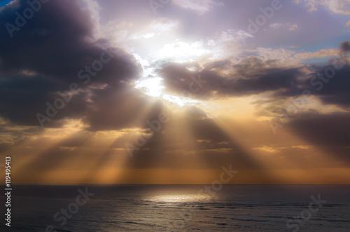Spoed Foto op Canvas Grijze traf. Dramatic sky over Baltic sea