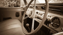 Inside The Old Car, Vintage Sepia Tone.