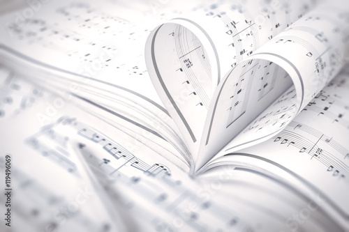 heart music notes Canvas Print