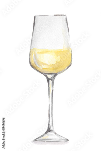 Foto op Canvas Alcohol Watercolor white wine glass. Beautiful and elegant glass with alcoholic beverage. Art for menu decoration.