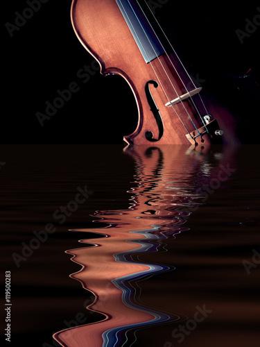 Plakat skrzypce powstanie z wody, odizolowane na czarno. koncepcja: muzyka pochodzi z natury