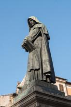 Rome, Italy - July 8, 2016: Statue Of Giordano Bruno In Campo Dei Fiori Square