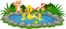 Mother Duck And Little Ducklings Swimming In The Pond