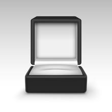 Vector Empty Black Velvet Opened Gift Jewelry Box On Background