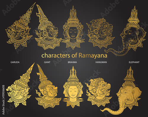Fotomural set characters of Ramayana vector