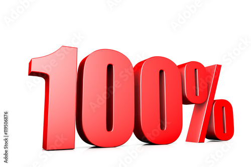 3d illustration sign of 100%