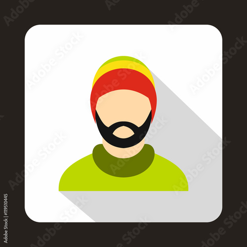 Photo  Man wearing rastafarian hat icon in flat style on a white background