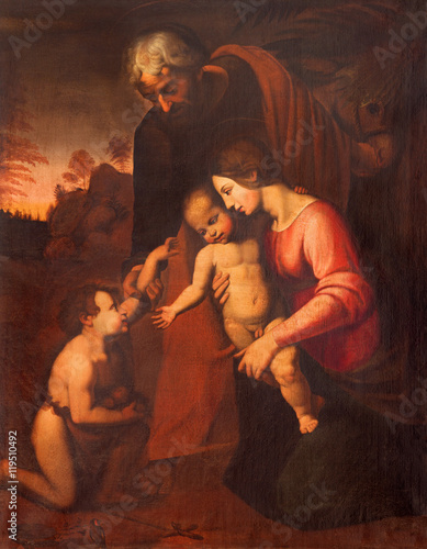 Plakát CREMONA, ITALY - MAY 24, 2016: The painting of Holy Family in Chiesa di San Agostino by Maria Zupelli (16