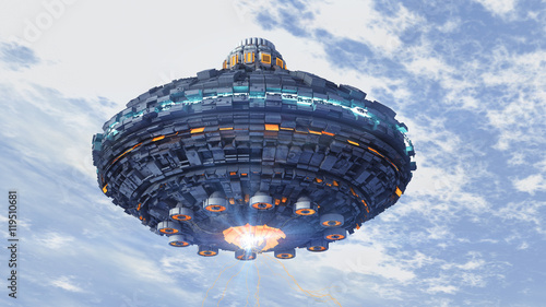 Photo  Unidentified flying object. Futuristic spaceship.