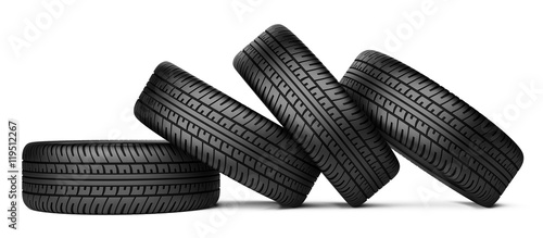 Fotomural Pile of four black wheel tyres for car