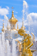 Fountain And Church Of The Palace Of Peterhof. St Petersburg, Russia