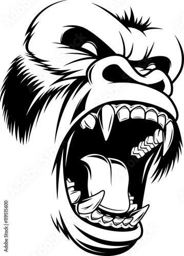 Photo  Ferocious gorilla head