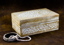 Antique Carved Pale Wood Box With Peal Jewellery On Dark Brown B