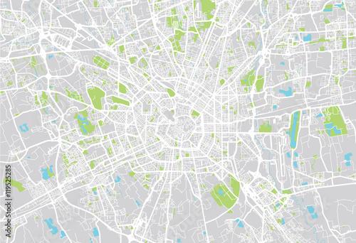 Valokuva  Milan city map