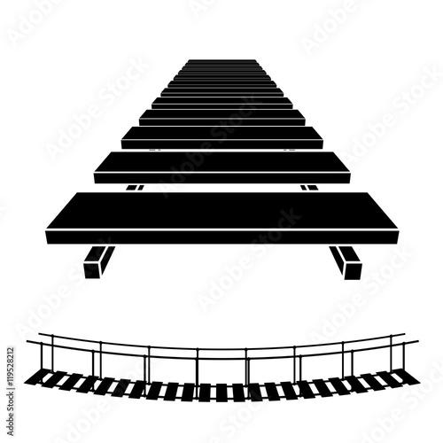 Obraz na plátne 3D simple wooden bridge black symbol vector