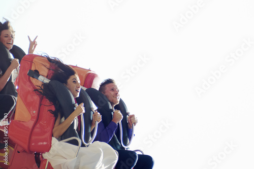 Poster Amusementspark Newlyweds on roller coaster. Group portrait of happy people in amusement park. Emotional wedding, happy positive emotions