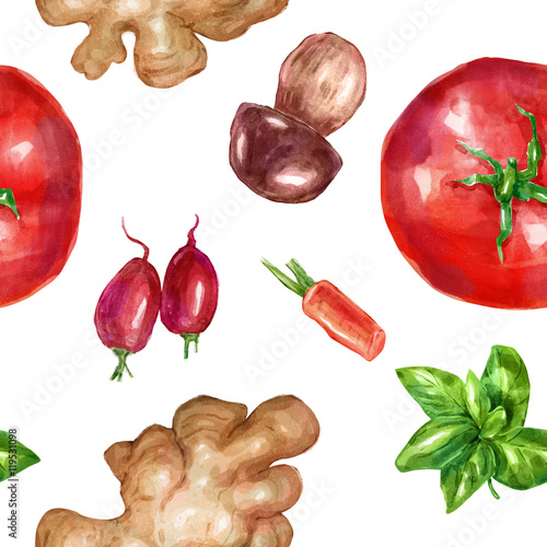 Photo  Watercolor seamless, pattern vegetables set with mint white mushroom tomato ging