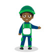 Cartoon character builder. Black man mascot. Black man mascot logo. Black worker. Vector illustration