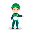 Cartoon character builder. Boy mascot. Worker builder mascot logo. Vector illustration