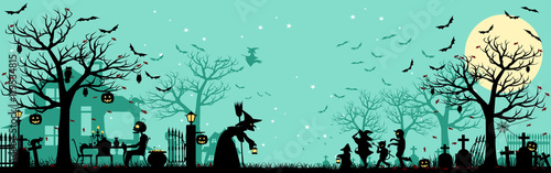 Halloween silhouette Background/5 unique layers of halloween pattern easy to col Canvas Print