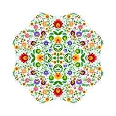 Obraz na SzklePolski folklor - wzór w kształcie kwiatka