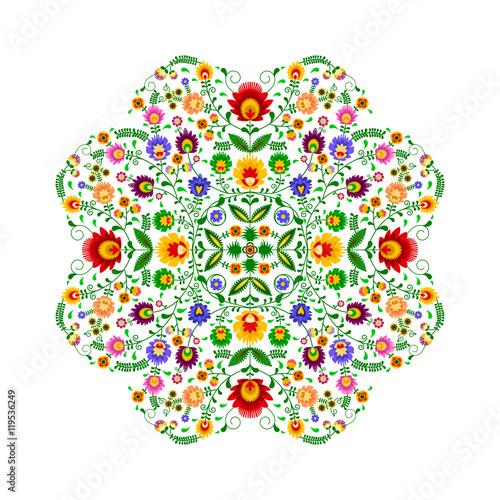 Polski folklor - wzór w kształcie kwiatka - 119536249