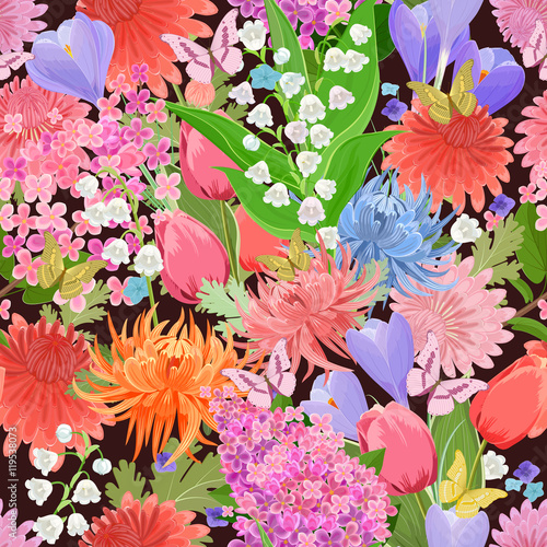 Cotton fabric colorful seamless texture with different flowers and butterflies