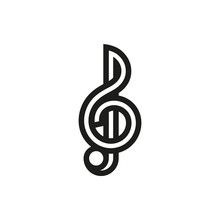 Treble Clef Icon On White Back...