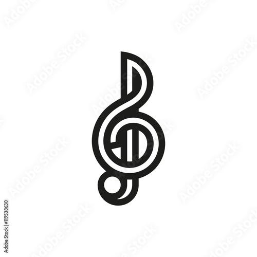Fotografia Treble clef icon on white background