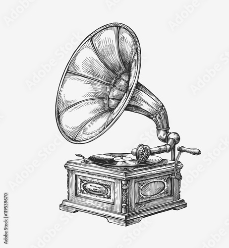 Photo Hand-drawn vintage gramophone. Sketch music. Vector illustration