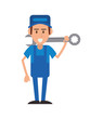 repairman wrench hat builder constructer worker proffesional icon. Flat and isolated design. Vector illustration