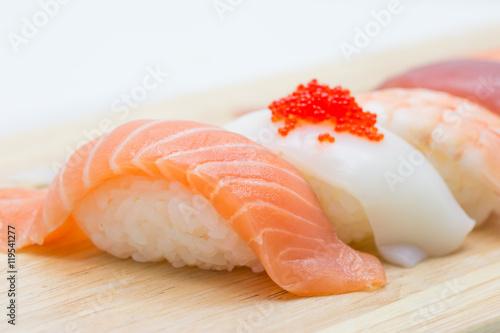 sushi set on wood background - 119541277