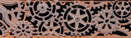Decorative Metal Grate Of Wheels And Cogs In Sidewalk Buy This